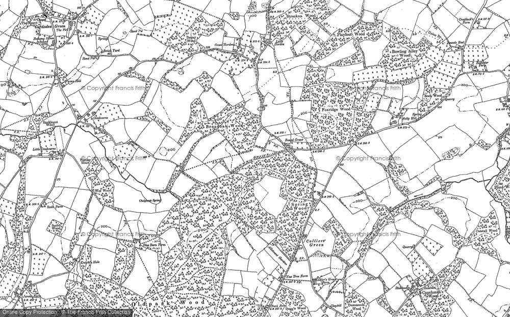 Old Map of Historic Map covering Lidwells Ho in 1895
