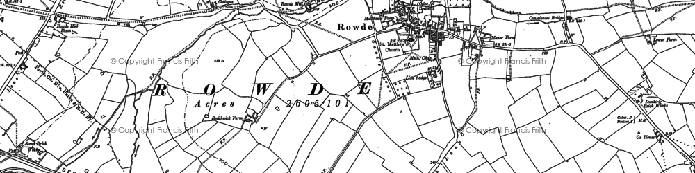 Old map of Rowde in 1899