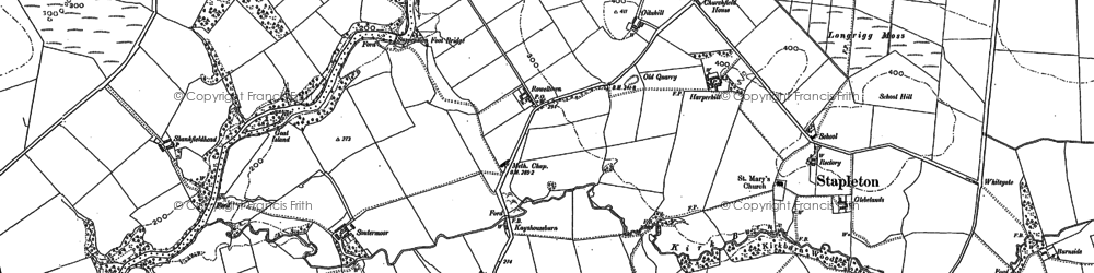 Old map of Whitberry Burn in 1891