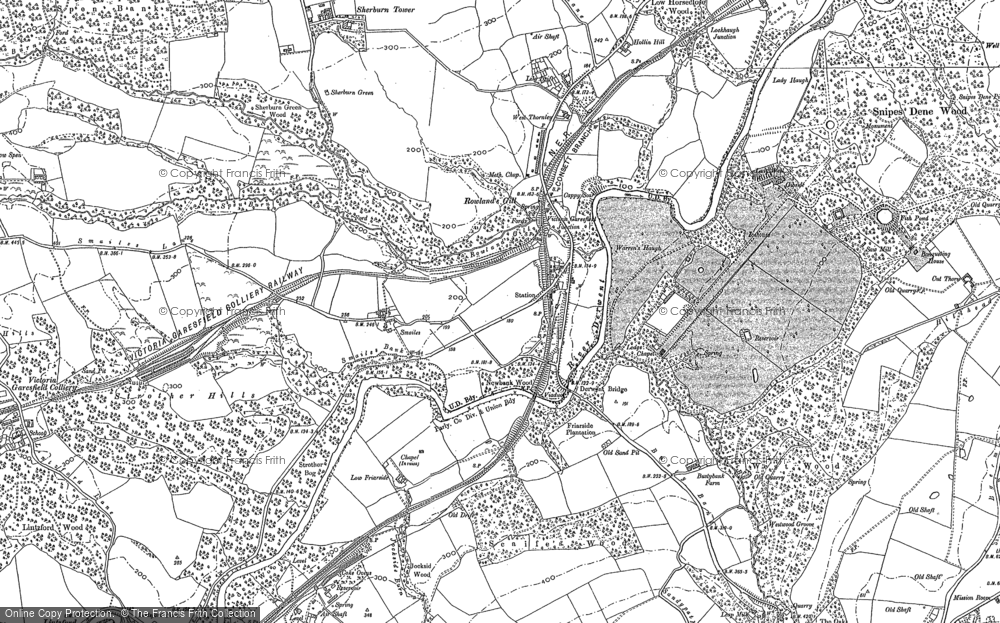 Old Map of Historic Map covering Leazes Hall in 1895