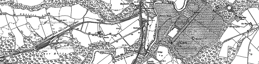 Old map of Rowlands Gill in 1895