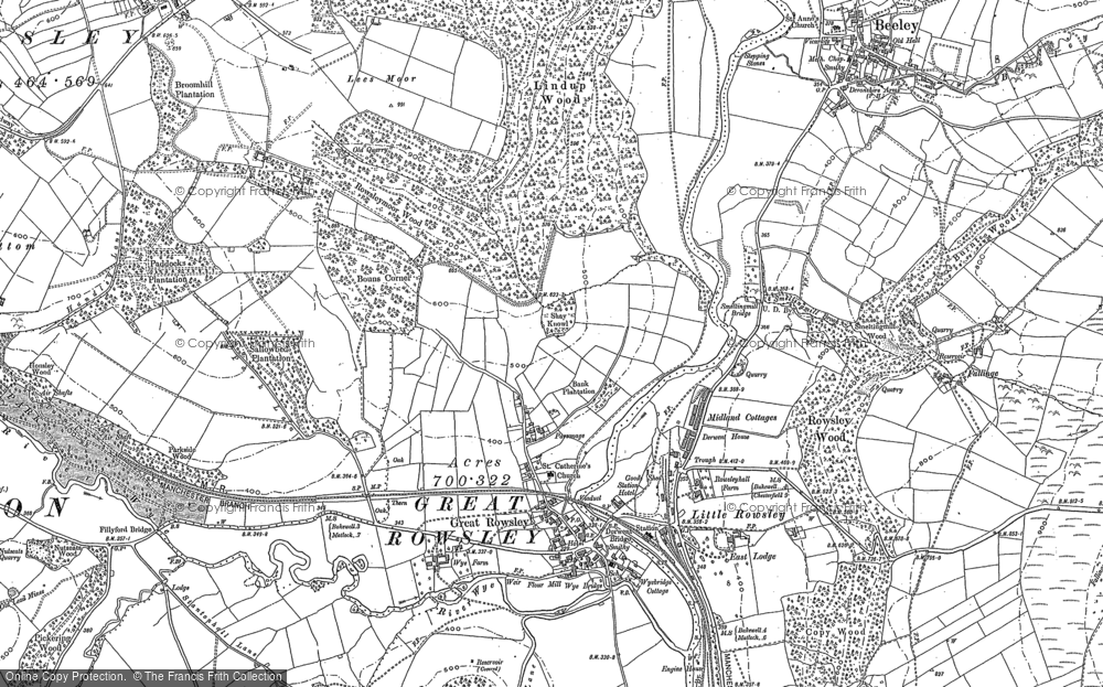 Old Map of Historic Map covering Tinkersley in 1878