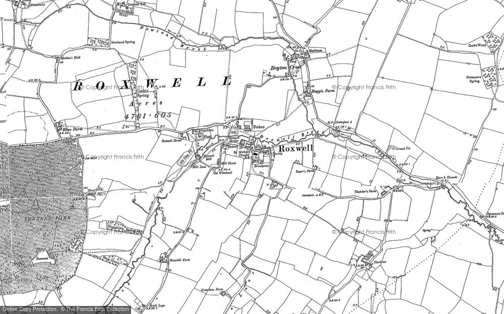 Map of Roxwell, 1895