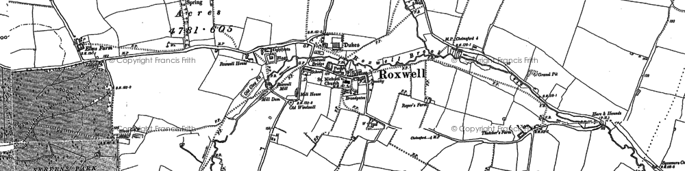 Old map of Roxwell in 1895