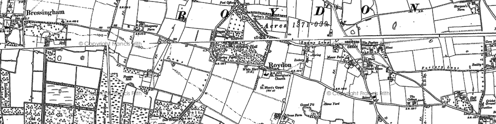 Old map of Wortham Ling in 1883