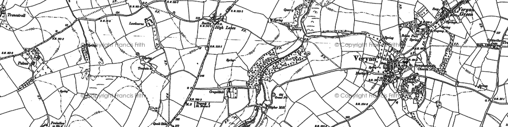 Old map of Ruan Lanihorne in 1879