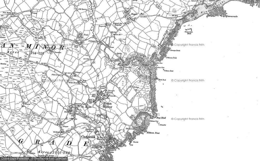 Old Map of Ruan Minor, 1878 - 1906 in 1878