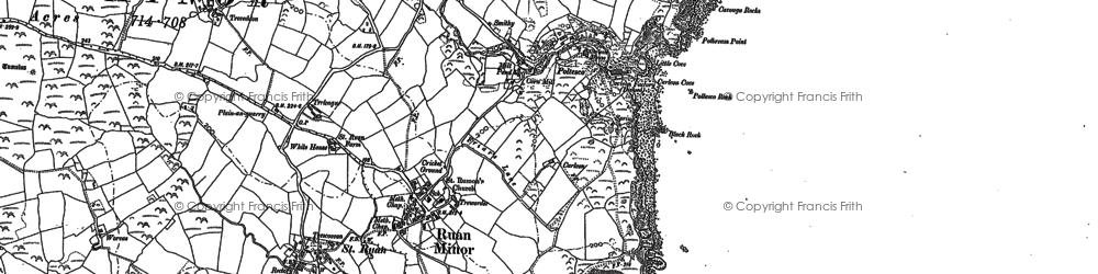 Old map of Ruan Minor in 1878