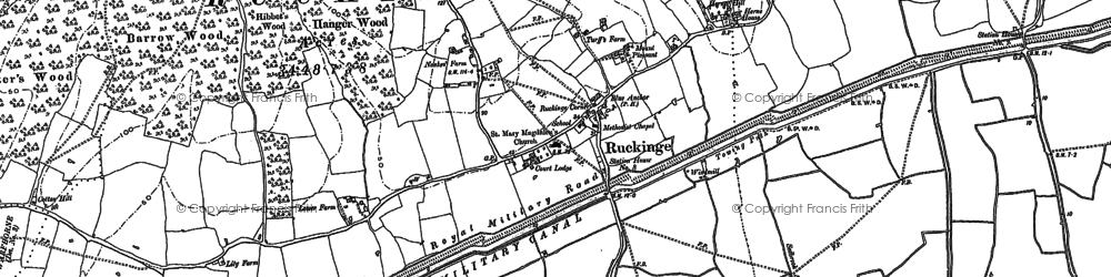 Old map of Ruckinge in 1896