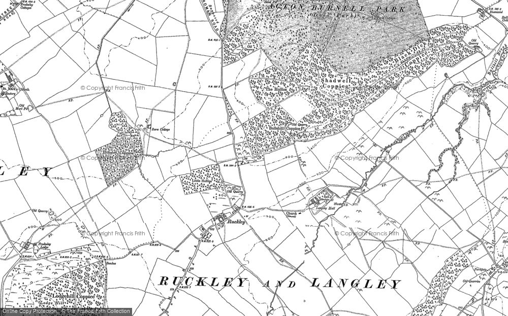 Old Map of Historic Map covering Langley Chapel in 1882