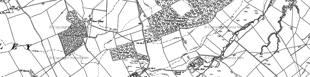 Old map of Langley Chapel in 1882