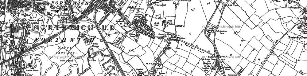 Old map of Leftwich in 1897