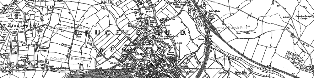 Old map of Rugeley in 1881