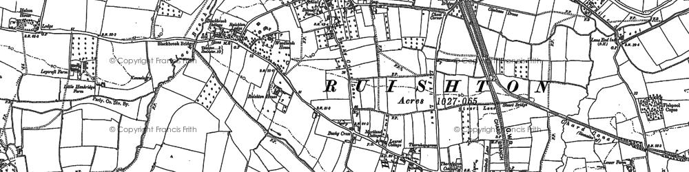 Old map of Ruishton in 1887