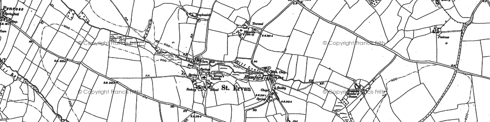 Old map of Rumford in 1880