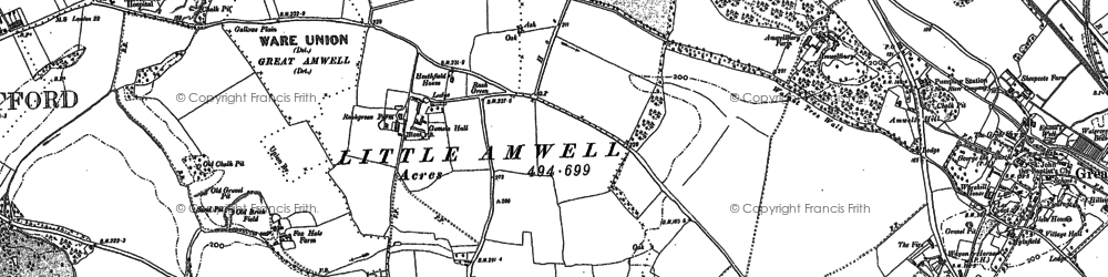 Old map of Rush Green in 1897