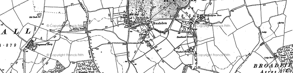 Old map of Rushden in 1896