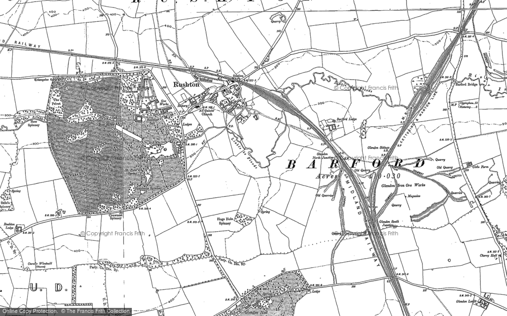 Old Map of Historic Map covering Barford Br in 1884