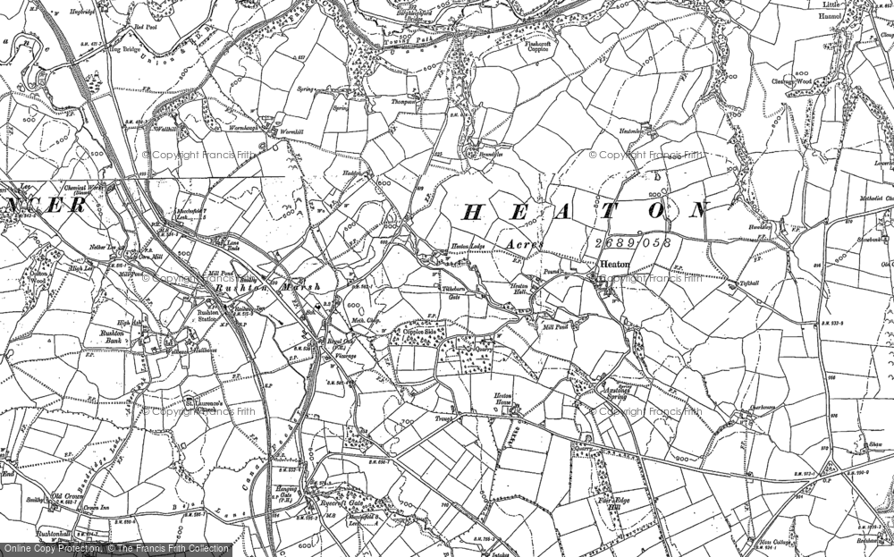 Old Map of Historic Map covering Axstones Spring in 1897