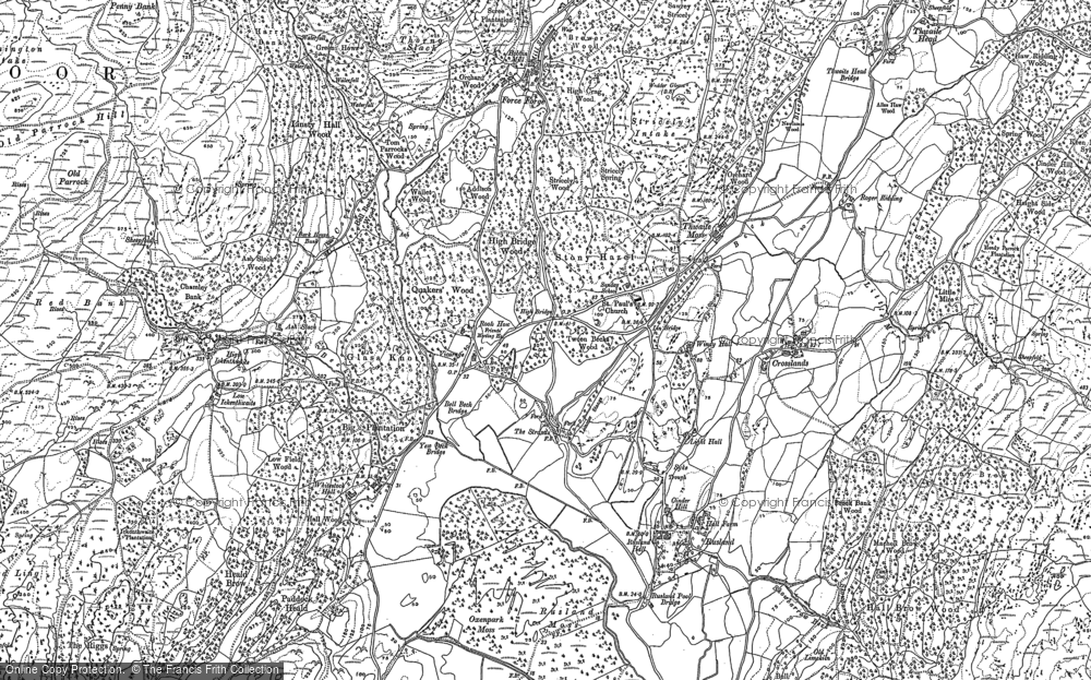 Old Map of Historic Map covering Ashes Beck in 1911