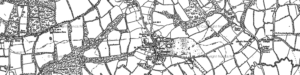 Old map of Rusper in 1909