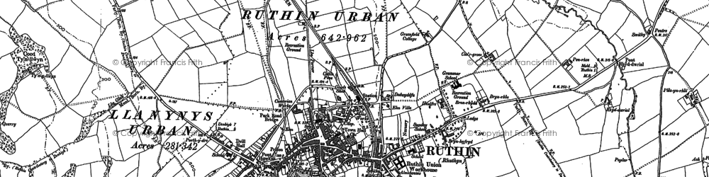 Old map of Ruthin in 1899