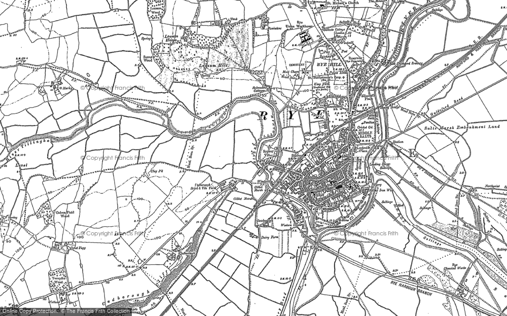 Old Map of Rye, 1907 - 1908 in 1907