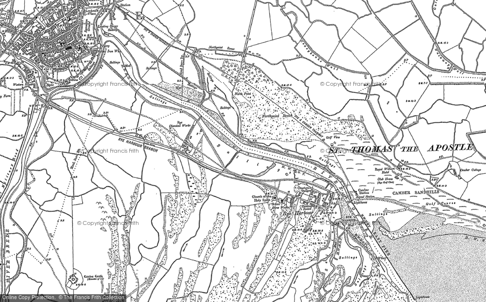 Old Map of Rye Harbour, 1908 in 1908