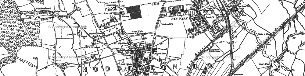 Old map of Spitalbrook in 1896