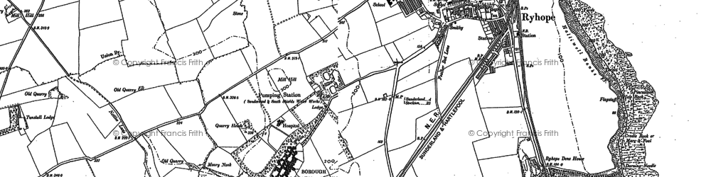 Old map of Ryhope in 1914