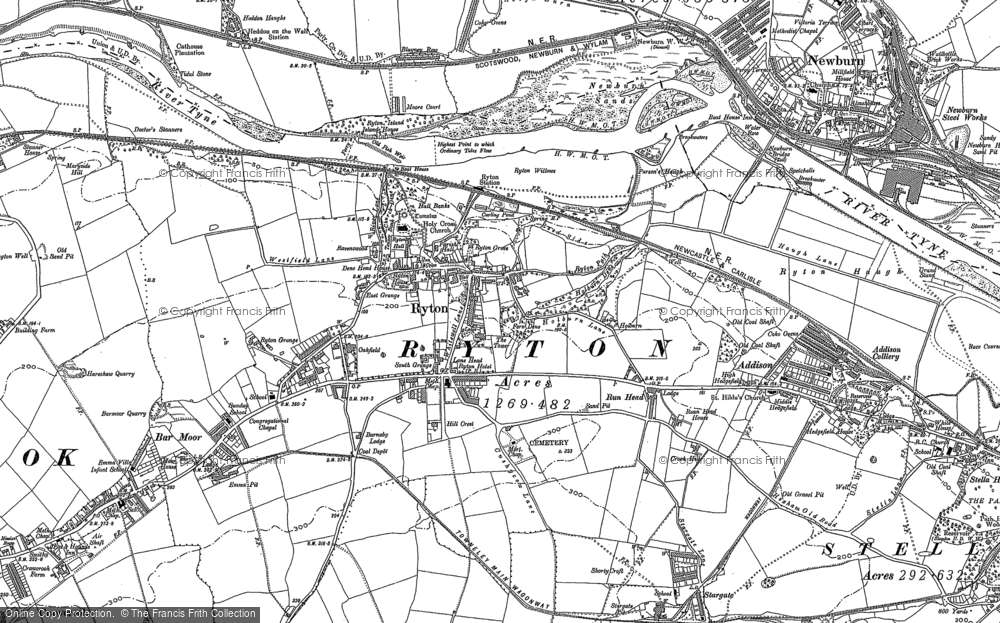 Old Map of Ryton, 1914 in 1914