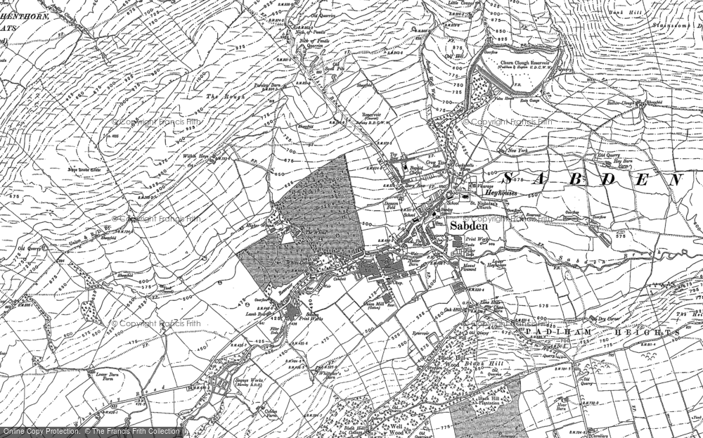 Old Map of Historic Map covering White Hill in 1892