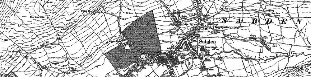 Old map of Sabden in 1892