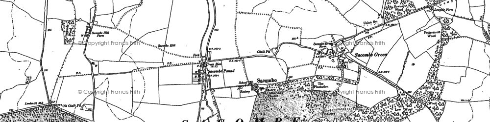 Old map of Sacombe Green in 1897