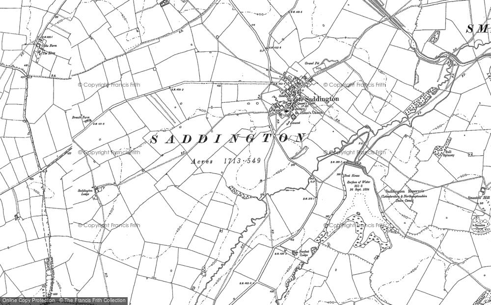 Old Map of Saddington, 1885 in 1885
