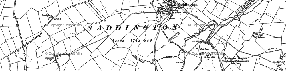 Old map of Saddington in 1885
