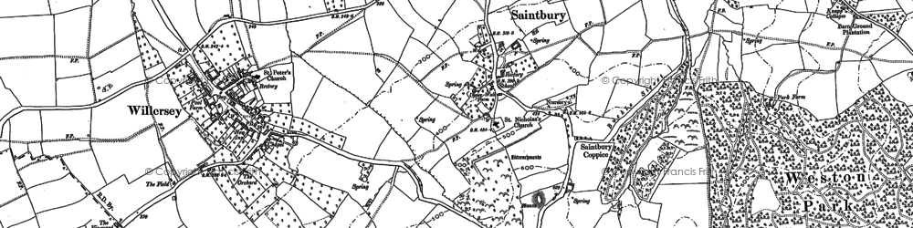 Old map of Willersey Hill in 1880