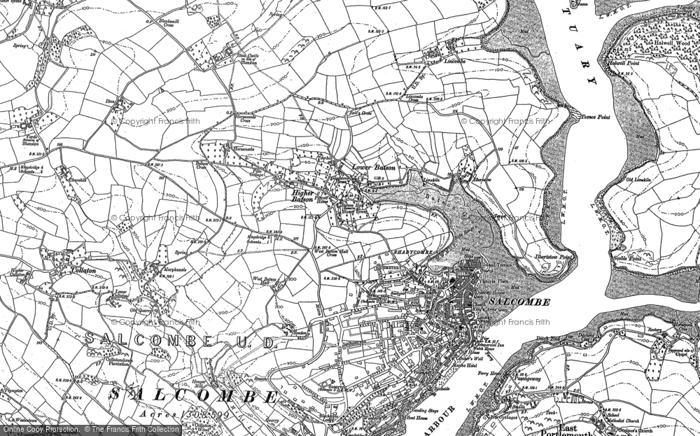 Old Map of Historic Map covering Lincombe in 1905