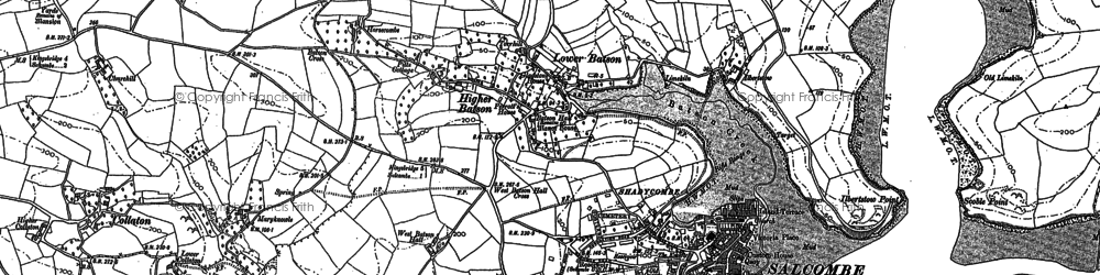 Old map of Salcombe in 1905