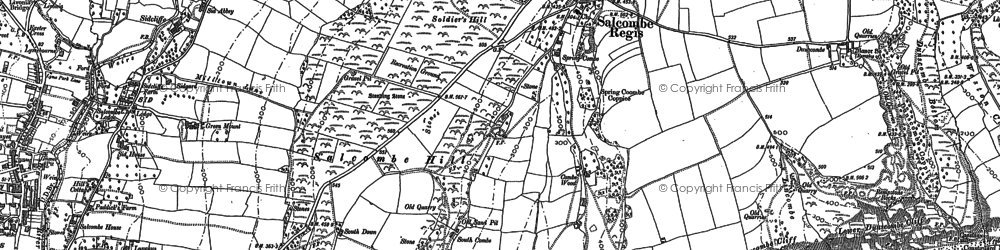 Old map of Salcombe Regis in 1888