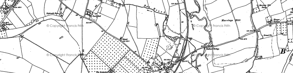 Old map of Salford Priors in 1883