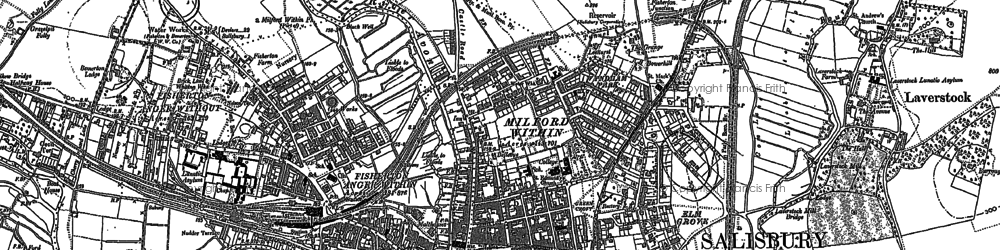 Old map of Salisbury in 1900