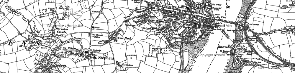 Old map of Saltash in 1888