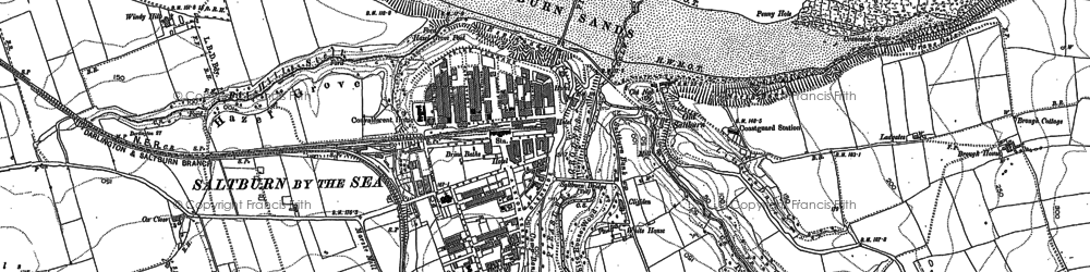 Old map of Saltburn-By-The-Sea in 1913