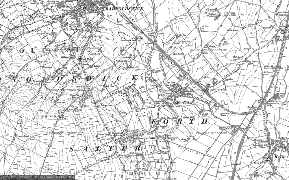 Old Map of Historic Map covering Letcliffe Country Park in 1896