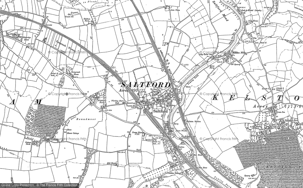 Old Map of Historic Map covering Avon Valley Country Park in 1882