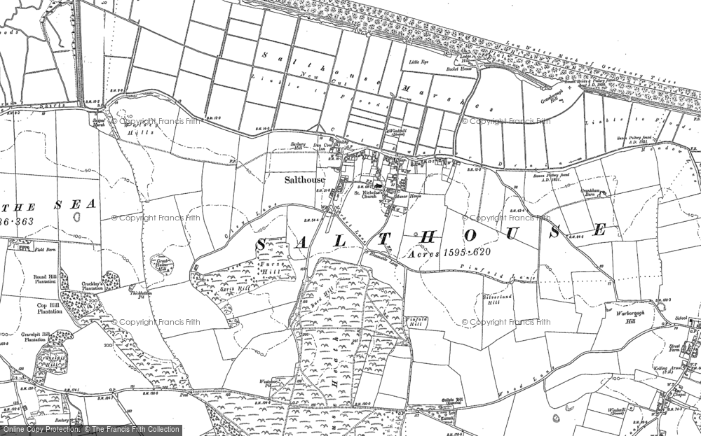 Old Map of Historic Map covering Bard Hill in 1886