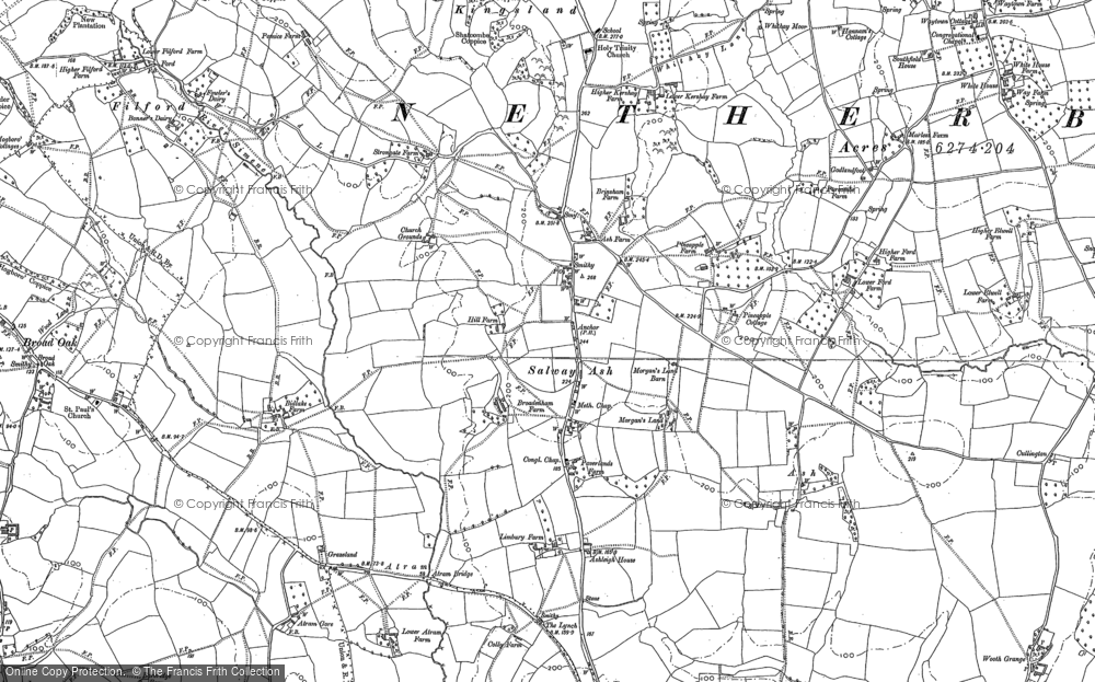 Old Map of Historic Map covering Ash in 1886