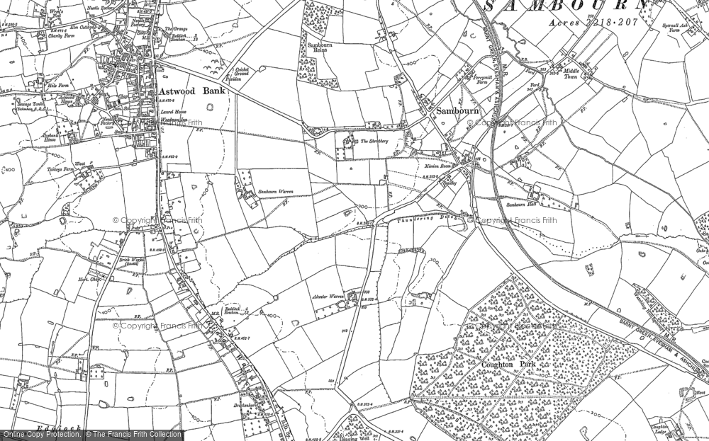 Old Map of Historic Map covering Alcester Warren in 1885