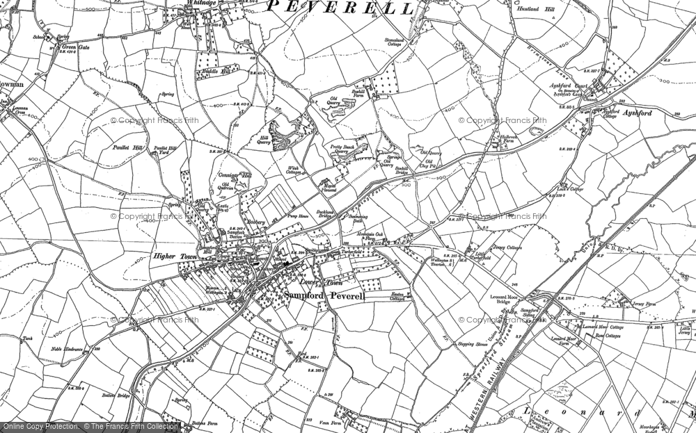 Old Map of Sampford Peverell, 1887 - 1903 in 1887